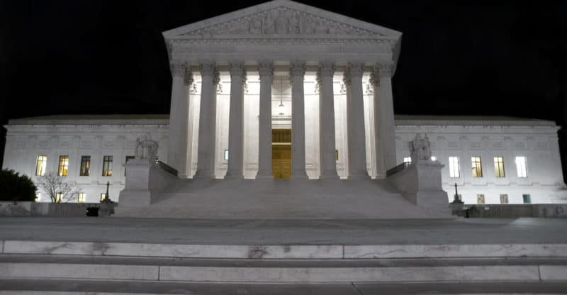Close up of Supreme court at night