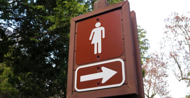 Gender neutral symbol on a sign in the park