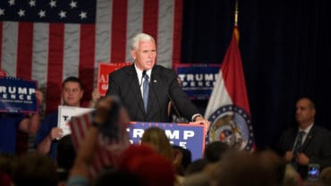 Mike Pence speaks to supporters at a rally