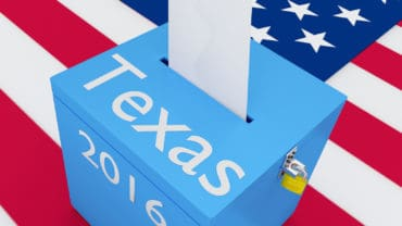 ballot box with US flag as a background.