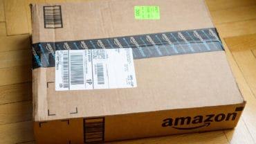 Amazon Box On Wooden Floor