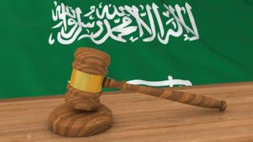 Flag of Saudi Arabia Behind Judge's Gavel