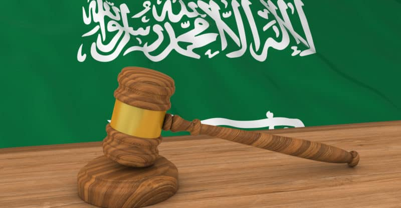 Flag of Saudi Arabia Behind Judge's Gavel