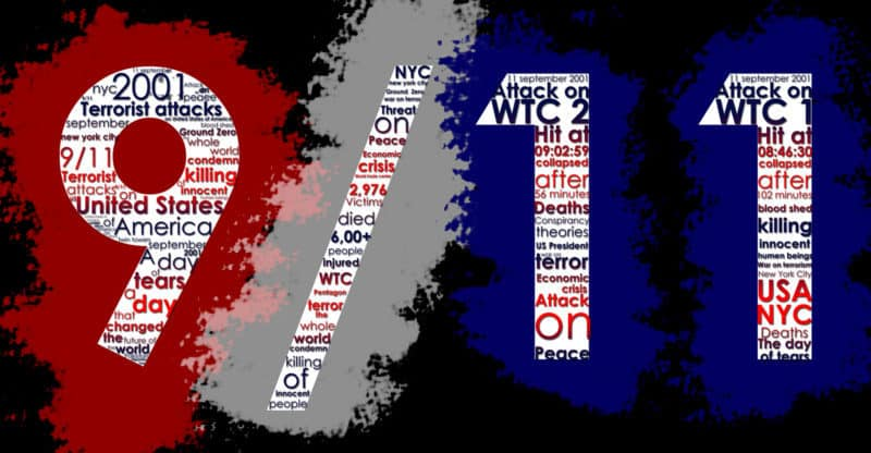 September 11, 2001. Typographic Illustration in US Colors