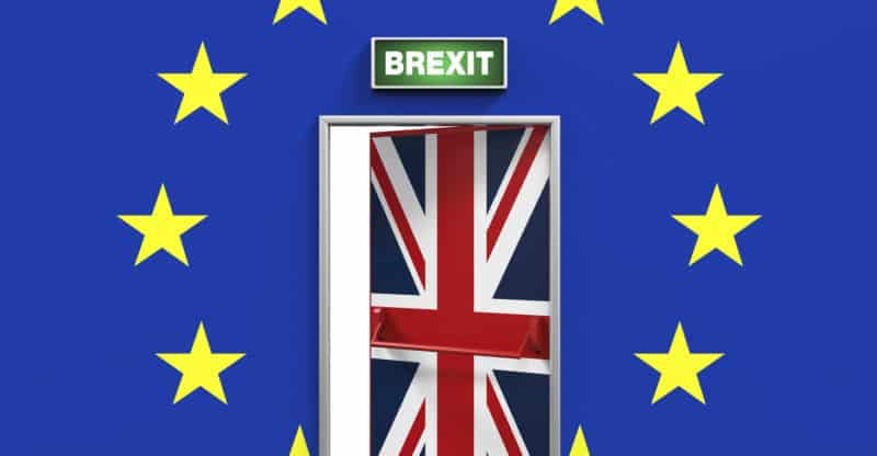 Brexit Door Illustration isolated on white background. 3D render