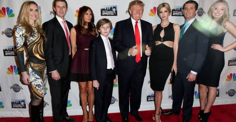 NEW YORK-FEB 16:(L-R)Lara Yunaska, Eric Trump, Melania Trump, Barron Trump, Donald Trump, Ivanka Trump, Donald Trump Jr. & Tiffany Trump at 'Celebrity Apprentice' on February 16, 2015 in New York.