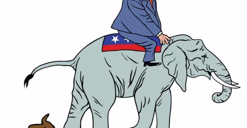 Donald Trump Riding Republican Elephant Caricature Vector