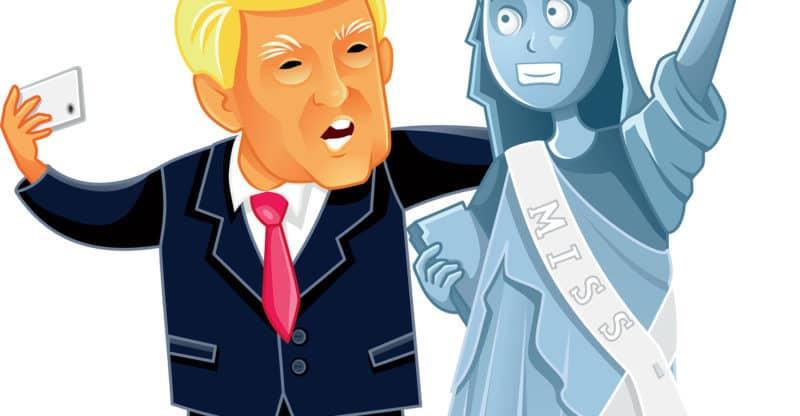 November 14, Donald Trump Taking a Selfie Caricature Vector