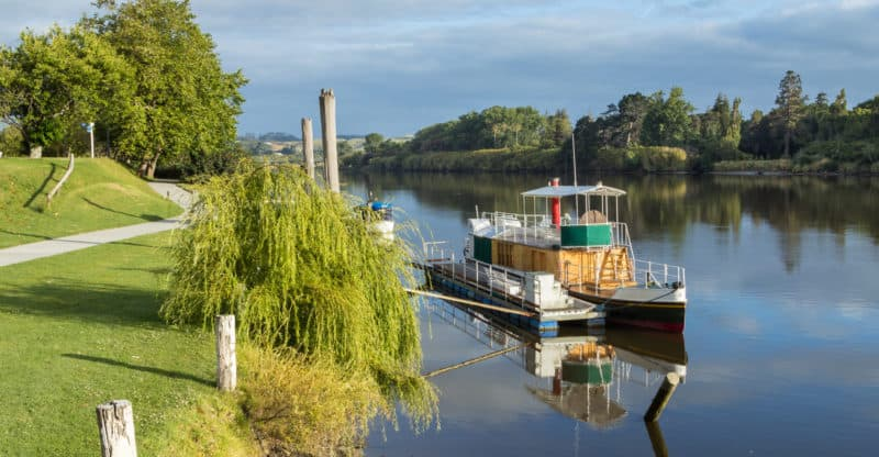 Beautiful morning on the Whanganui river shown a river steam boat.