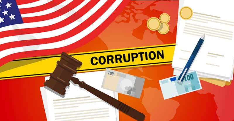 USA United States of America fights corruption money bribery financial law contract police line for a case scandal government official vector