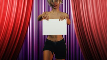 Topless woman holding a blank sign on stage