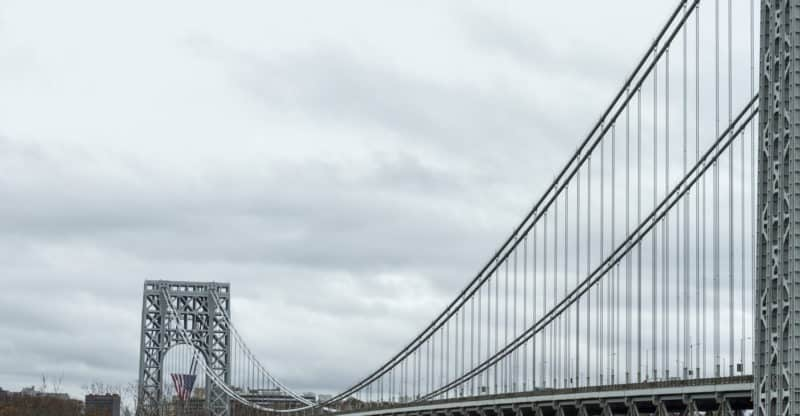 View of George Washington Bridge over Hudson River. Close up