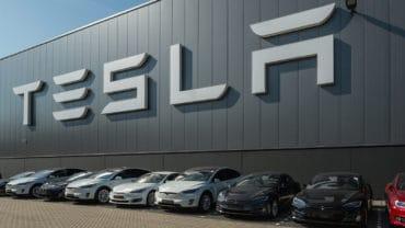TILBURG NETHERLANDS - SEPTEMBER 25 2016: Tesla Motors Assembly Plant in Tilburg Netherland. Tesla car.