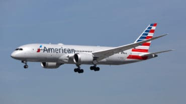 LOS ANGELES - FEBRUARY 19: An American Airlines Boeing 787 landing on February 19 2016 in Los Angeles. American Airlines is a major airline based in Fort Worth.