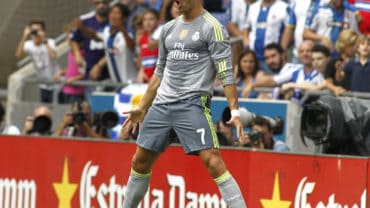 BARCELONA - SEPT, 12: Cristiano Ronaldo of Real Madrid celebrating a goal during a Spanish League match against RCD Espanyol at the Power8 stadium on September 12 2015 in Barcelona Spain