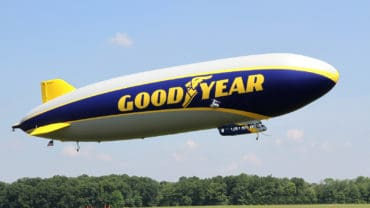 SUFFIELD OHIO USA - June 28 2014: The Goodyear Zeppelin NT flying at the Airship Base in Suffield Ohio.