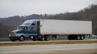 tractor trailer on open highway