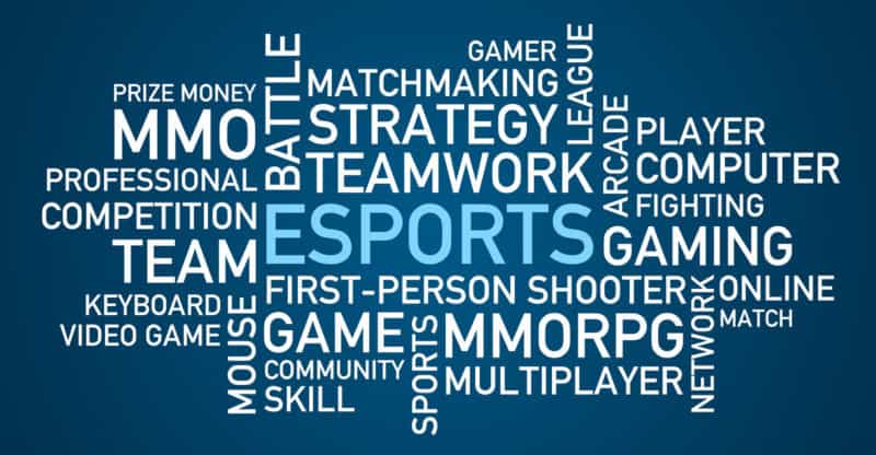 Vector illustration of the words from the eSports world