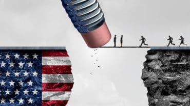 United States border isolationism and protectionism or American immigration refugee crisis as people running to cross a bridge that is being erased by a pencil with a US flag on a cliff as a social issue on refugees or illegal immigrants with 3D illustrat