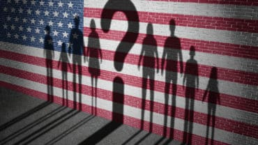 United States refugee question and immigration government policy as extreme vetting for banned newcomers in America as the cast shadow of international migrants on a wall with a US flag with 3D illustration elements.