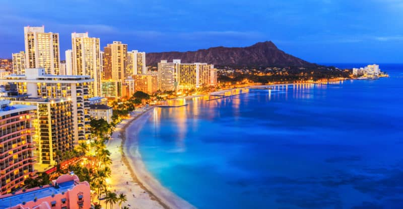 Honolulu, Hawaii. Skyline of Honolulu, Diamond Head and Waikiki Beach