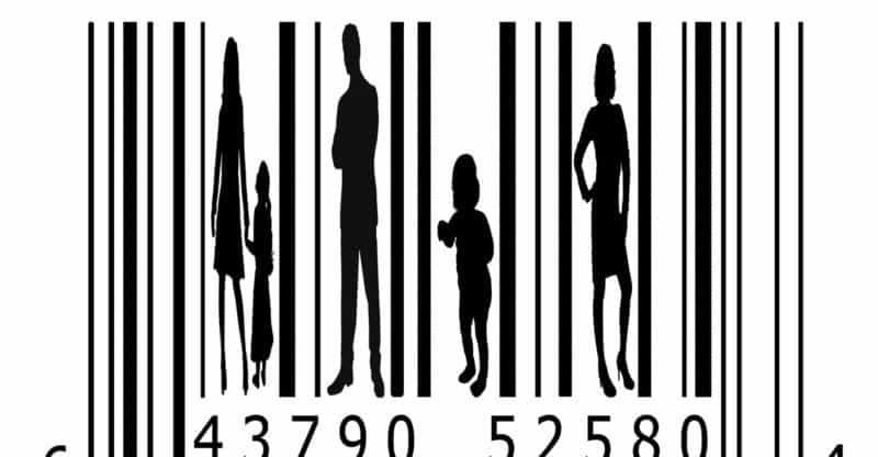 Bar code and people silhouettes.