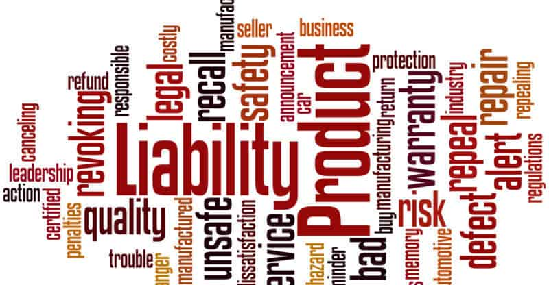 Product Liability word cloud concept on white background.
