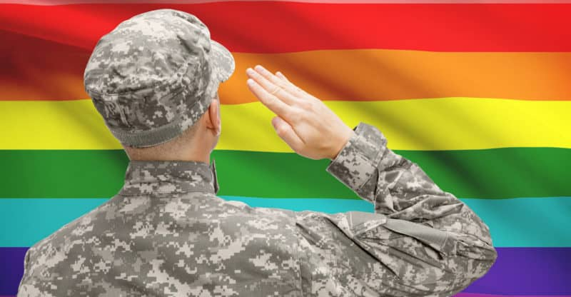 National military forces with flag on background conceptual series - LGBT flag
