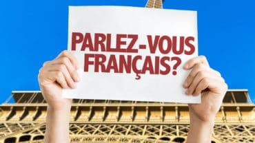 Do You Speak French? (in French) card with Eiffel Tower on backg