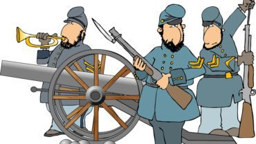 this illustration depicts three american civil war soldiers with a cannon.
