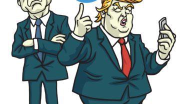 Donald Trump and James Comey Cartoon Vector. June 12, 2017