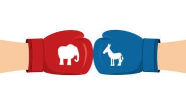 Elephant and Donkey boxing gloves. Symbols of USA political party. American Democrat versus Republican. Elections in United States. Battle for votes