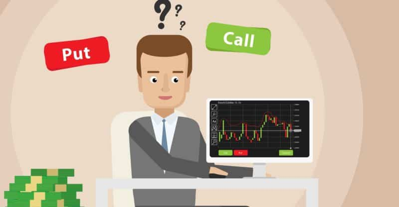 Binary options person deciding where price is going