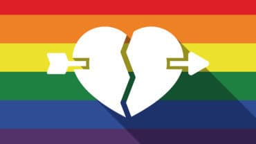 Illustration of a long shadow gay pride flag with a broken heart pierced by an arrow