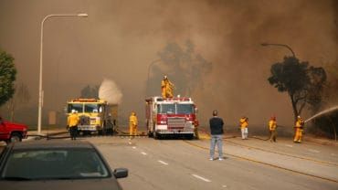 Brea, Ca - Nov 15 2008: Fast-moving wild fires in, Brea, Yorba Linda, Anaheim Hills and empty streets, freeways, and destroys hundreds of homes.