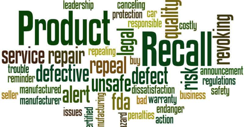 Product Recall word cloud concept on white background