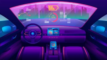 Automobile salon or driverless car interior view. Futuristic self-driving vehicle at road moving towards city. Auto piloted auto with chart and battery, smart car. Drive assistant, autopilot theme