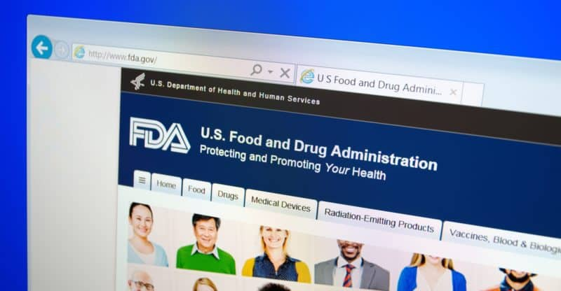 A computer screen shows details of Food and Drug Administration (FDA or USFDA) main page on its web site in Saransk, Russia, on December 01 2015. Selective focus.